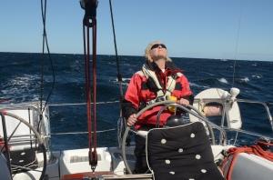 Vinni checks the sails